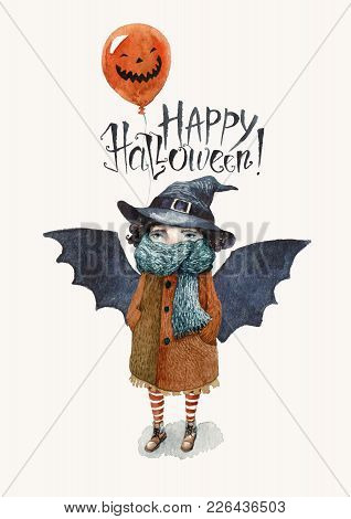 A Happy Halloween Postcard Painted In Watercolor. A Little Girl In A Coat And A Scarf, With Bat Wing