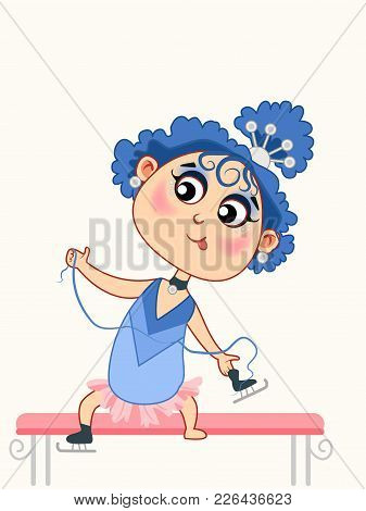 Cute Cartoon Baby Girl Skating On Ice In Winter. Vector Illustration Isolated On White Background