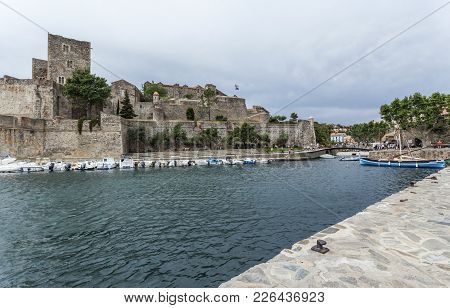 Colliuore,france-june 17,2011: Chateau Royal, Royal Castle And Port In French Village Of Collioure,