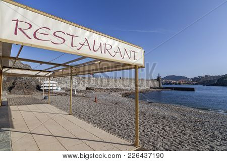 Collioure,france-november 30,2011: Beach And Restaurant In French Village Of Collioure, Cote Vermeil