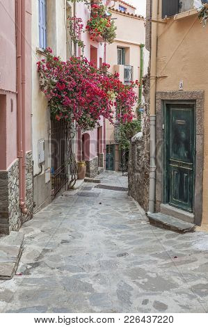 Collioure,france- June 17,2011: Typical Street In Collioure,languedoc-roussillon,france.