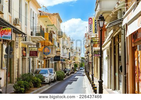 Rethymno, Greece - May 3, 2016: Walk Around The Old Resort Town Rethymno In Greece. Architecture And