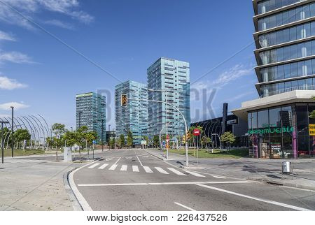 Hospitalet De Llobergat,spain-september 4,2011: Modern Buildings, Economic Center In Square, Plaza E