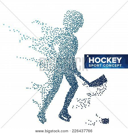 Hockey Player Silhouette Vector. Grunge Halftone Dots. Dynamic Ice Hockey Athlete In Action. Sport B