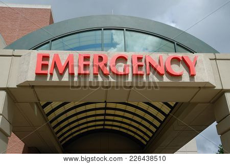 Hospital Emergency Room Entrance Sign Background At Georgia, Usa
