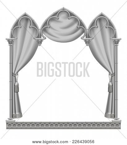 Classic gray gothic architectural decorative frame with curtain. Vintage design element, cover and poster template isolated on white
