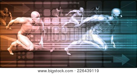 Sports Background and Physical Combat as Abstract 3D Render
