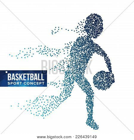 Basketball Player Silhouette Vector. Halftone. Dynamic Basketball Athlete. Flying Dotted Particles.