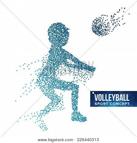Volleyball Player Silhouette Vector. Grunge Halftone Dots. Dynamic Volleyball Athlete In Action. Dot