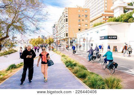 Benidorm, Spain - January 29, 2018: People Enjoying Holiday In Benidorm, Costa Blanca, Spain.
