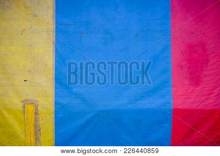 Three Color Old Trampolines (yellow, Blue, Red) Background