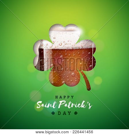 Saint Patricks Day Design With Fresh Dark Beer In Clover Silhouette On Green Background. Irish Festi