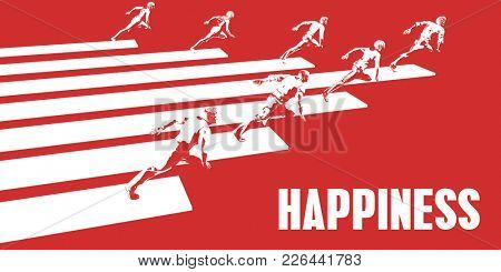 Happiness with Business People Running in a Path