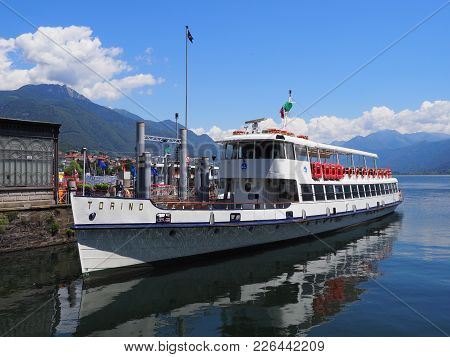 Locarno, Switzerland Europe On July 2017: Paddle-wheel Steam Boat Moored Ready To Cruise At Promenad