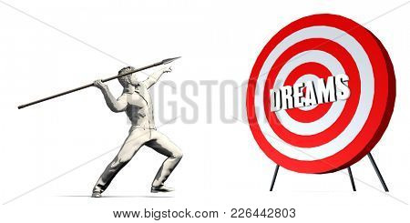 Aiming For Dreams with Bullseye Target on White 3D Render