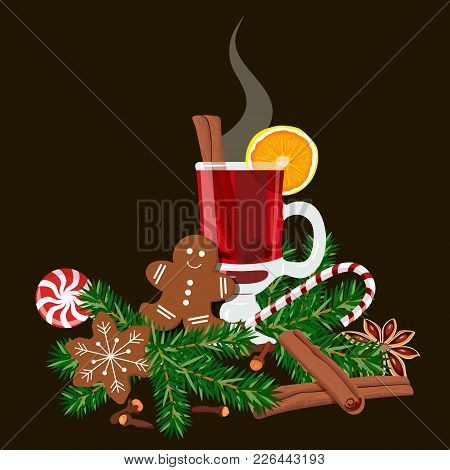 Mulled Wine Set With Glass Of Red Drink, Gingerbread Man, Candy Cane, Lolly Pop, Fir Tree Twig, Zest