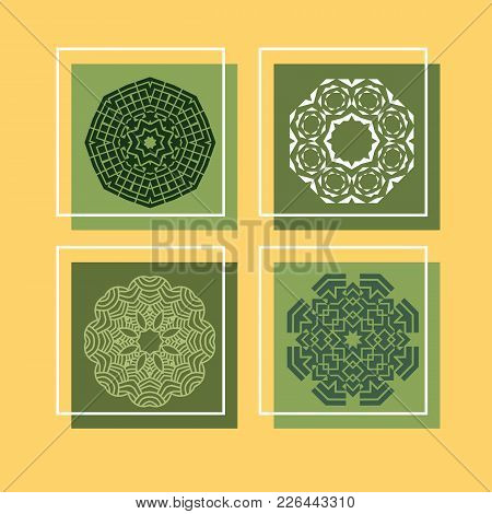 Set  Of Outline Mandalas. Arabian And Indian, Tibetan  Ornament. Hand Drawn Decorative  Background,d
