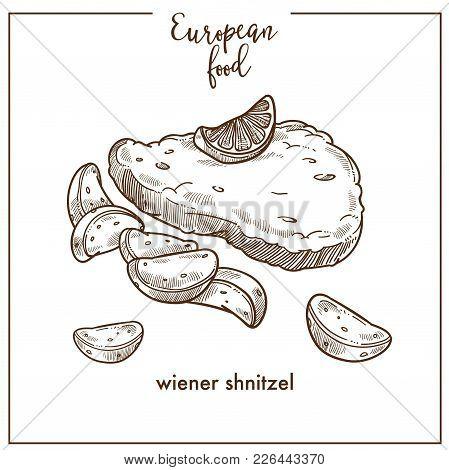 Wiener Schnitzel Sketch Icon For European Food Cuisine Menu Design. Vector Retro Sketch Of German Or