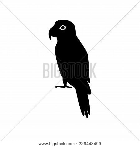 Amazon Parrot Silhouette Icon In Flat Style. Exotic Tropical Bird Symbol On White Background