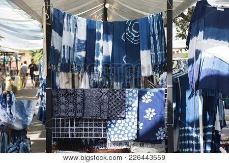 My Fashion Tie Batik Dyeing Indigo Clothes Shop For Sale Travelers People At Street Market Fair