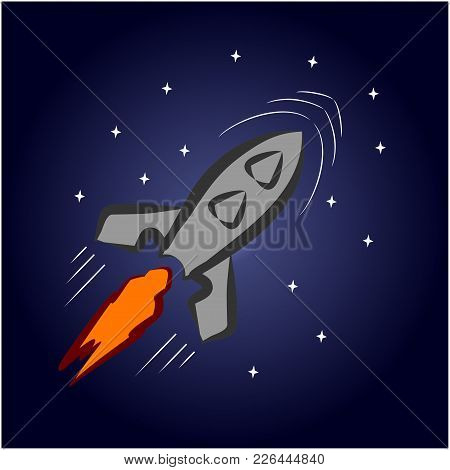 A Cartoon Rocket Flies In Space Among The Stars. Vector Illustration