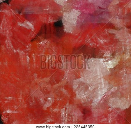 Colorful Abstract Painting in Red Tints. Canvas. 3D rendering