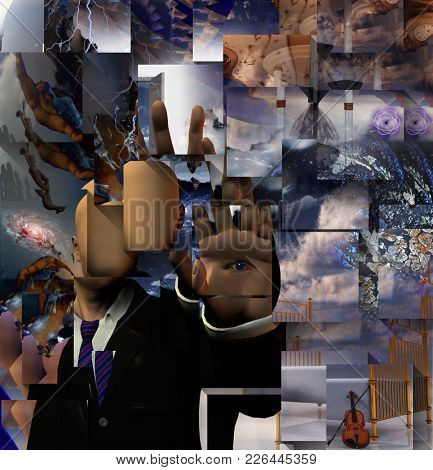 Surreal painting. Man without face with eye on his palm hand. Ascending people, violin and bed. 3D rendering