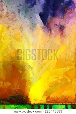 Vivid Abstract Painting. Paint drops. 3D rendering