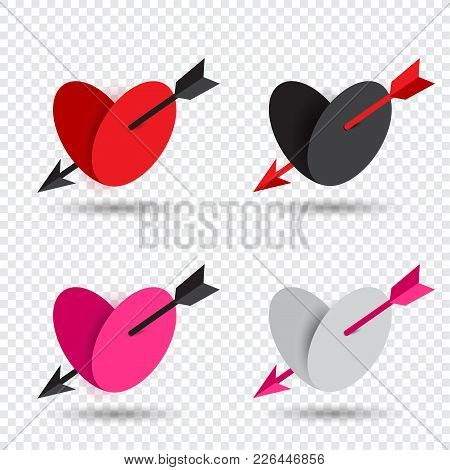 Beautiful Valentine Set Heart Pierced By An Arrow Of Cupid With Shadow On Transparent Background. Lo