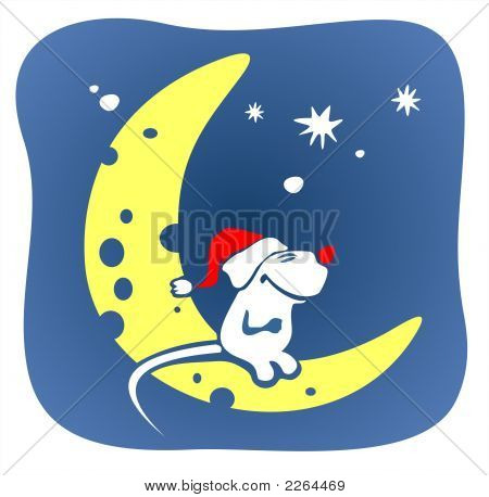 A smiling white mouse in a red cap sits on the moon on a background of the star sky. poster
