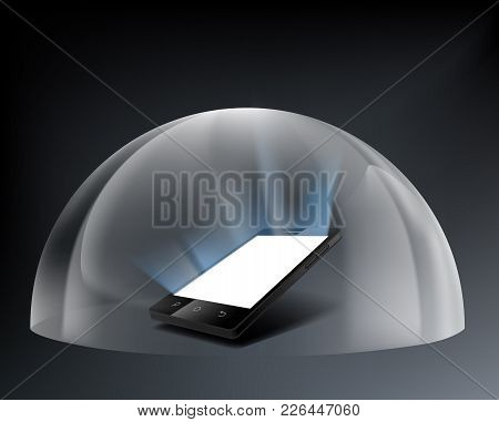 Smartphone With A White Screen Under A Glass Dome. Stock Vector Illustration.