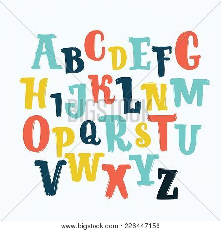 Vector Cartoon Unique Lettering Font Set, Hand Drawn Kids, Funny, Children. Markers Or Brush Type Fa