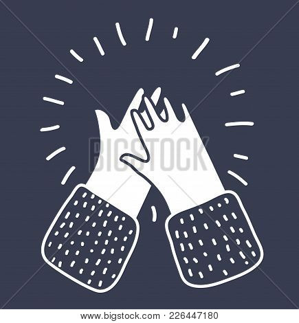 Vector Cartoon Illustration Of Clapping Hands, Applause Isolated White On Black. Outline Modern Styl