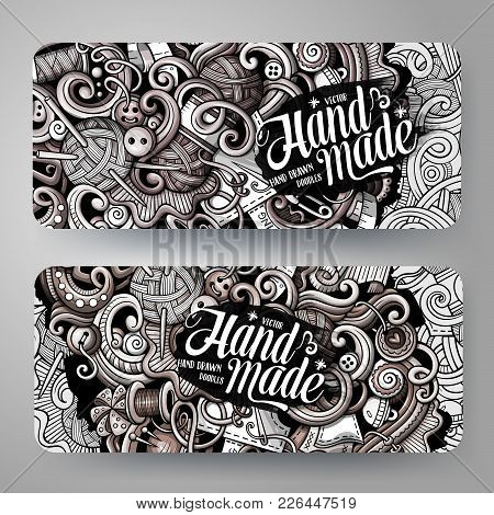 Cartoon Graphics Vector Hand Drawn Doodles Hand Made Corporate Identity. 2 Horizontal Banners Design