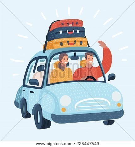 Vector Cartoon Illustration Of Happy Couple Traveling By Car Trip. Young Family In Honeymoon Or Vaca