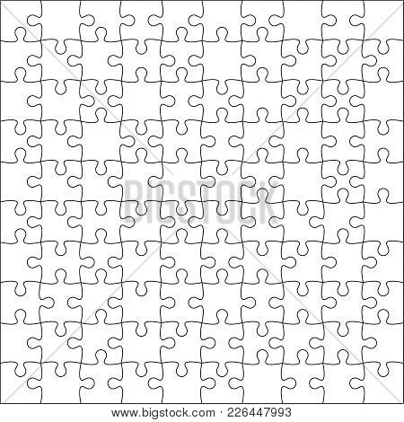 Jigsaw Puzzle Blank Template Or Cutting Guidelines Of 100 Pieces Plain White On Background Vector Illustration