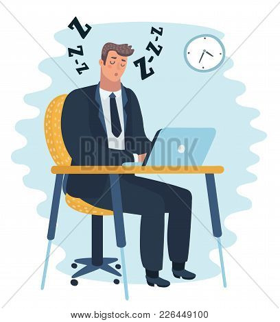 Vector Cartoon Illustration Of Businessman Falling Asleep At His Work, Sitting At The Table Business