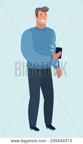 Vector Cartoon Illustration Of Friendly Young Guy In Casual Clothes, Holding A Mobile Phone. Human C