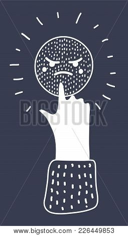 Vector Cartoon Illustration Of White Angry Icon On Black Backgrond. Human Hand, Love Symbol. Signal