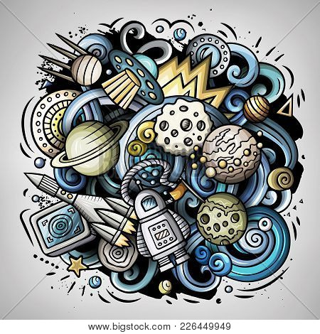 Cartoon Vector Doodles Space Illustration. Colorful, Detailed, With Lots Of Objects Background. All