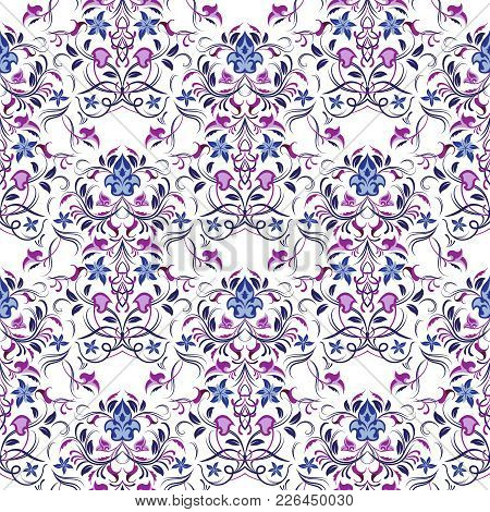 Symmetric Seamless Violet Pattern. Decorative Background In Arabic Style. The Rich Decor Of The Shap