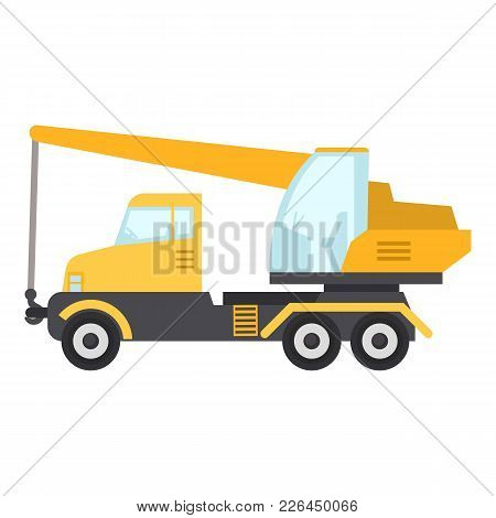 Crane Truck Icon. Flat Illustration Of Crane Truck Icon For Web