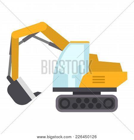 Excavator Icon. Flat Illustration Of Excavator Icon For Web