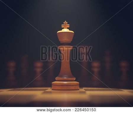 3d Illustration. The King In Highlight. Pieces Of Chess Game, Image With Shallow Depth Of Field.