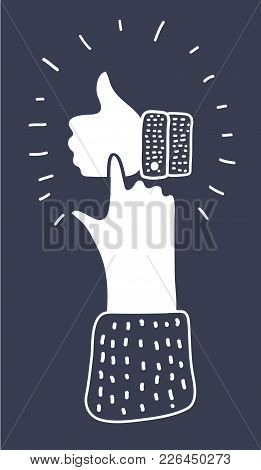 Vector Cartoon Illustration Of Thumbs Up Icon. Human Hand Touch Or Push It. Drawn Modern Style Conce