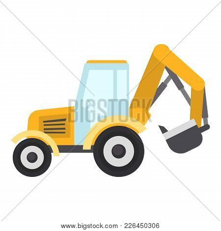 Tractor Bucket Icon. Flat Illustration Of Tractor Bucket Icon For Web