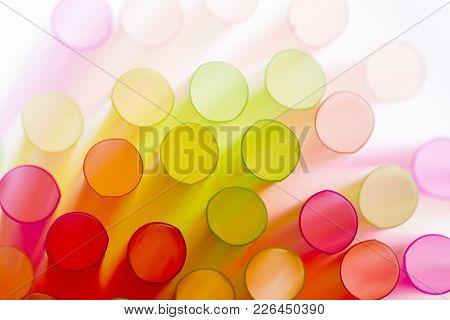 Colourful straws on a white background - macro detail
