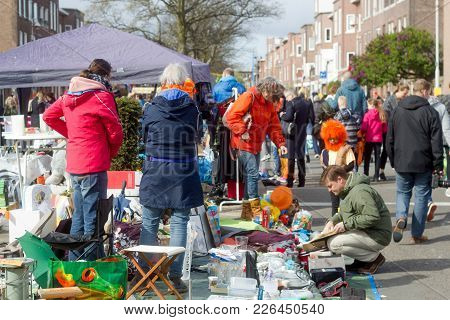 Thomsonlaan, The Hague, The Netherlands -27 April 2017: People Buying And Selling Household Objects