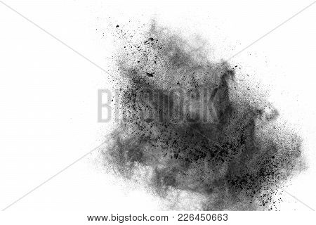 Abstract Design Of Black Powder Cloud Against White Background.