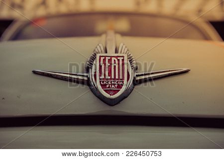 Tossa De Mar, Spain - September 8, 2017. Close Up Detail Of Seat Logo On Vintage Car Parked On The S